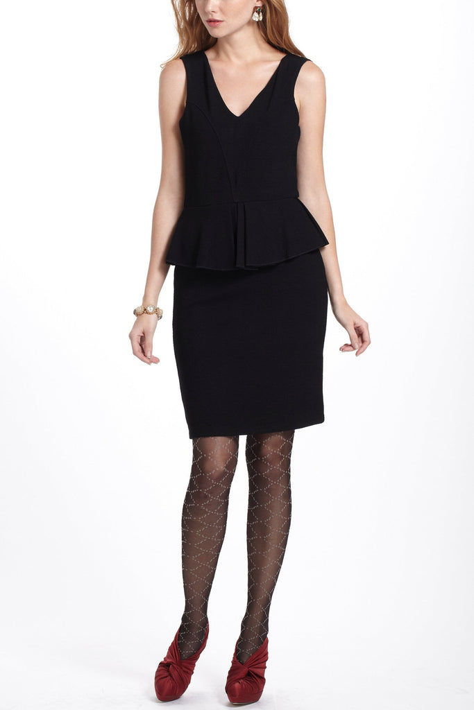 Anthropologie-Black Eleanor Peplum Dress