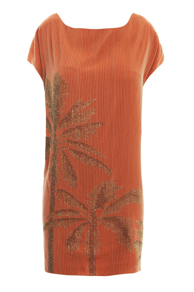 Diane Von Furstenberg Orange Cordie Palm-Tree dress