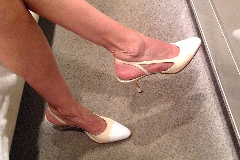 Chanel Beige White Leather Slingback Pumps