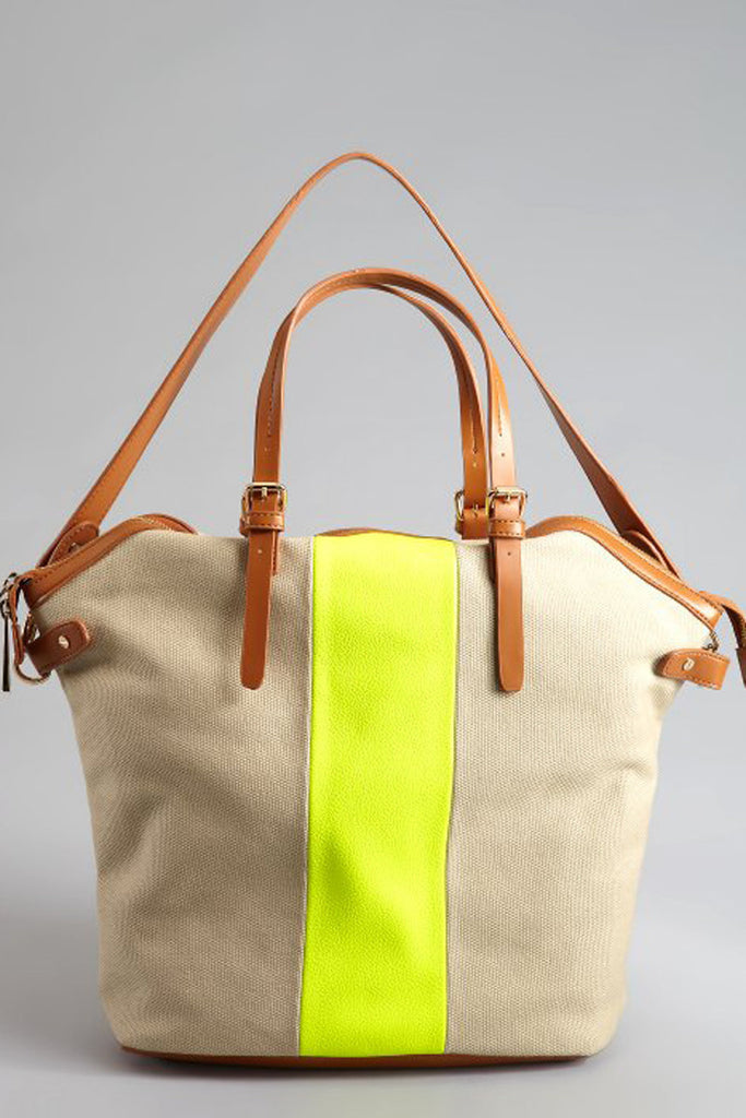 KELSI DAGGER Neon Yellow And Beige 'Rebecca' Dome Tote