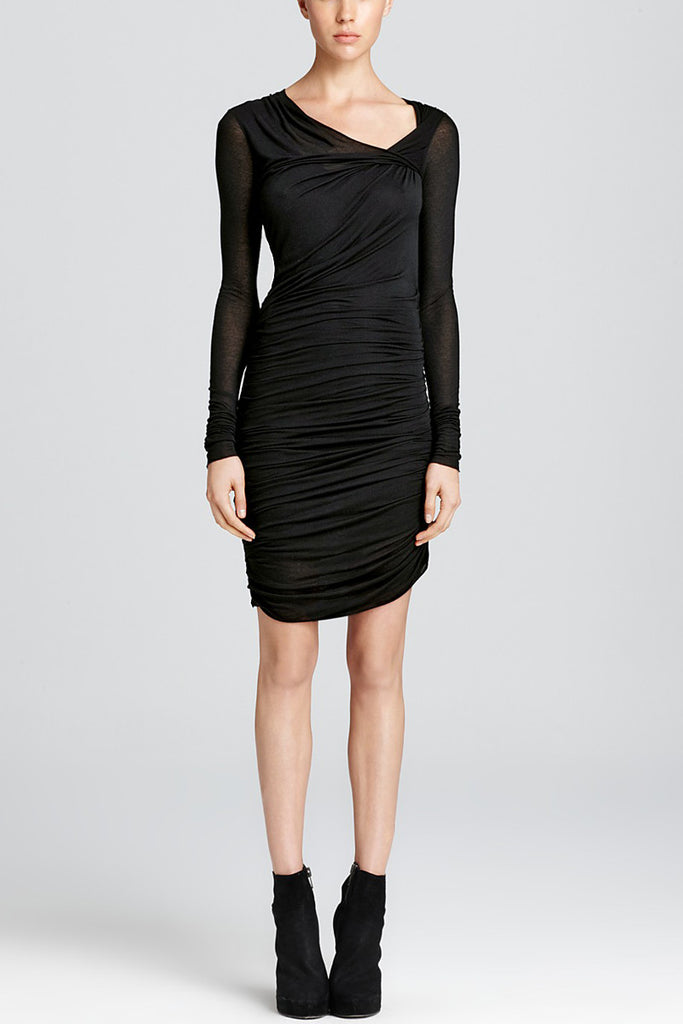 Helmut Lang Ruched Dress - Long Sleeve with Twist Detail