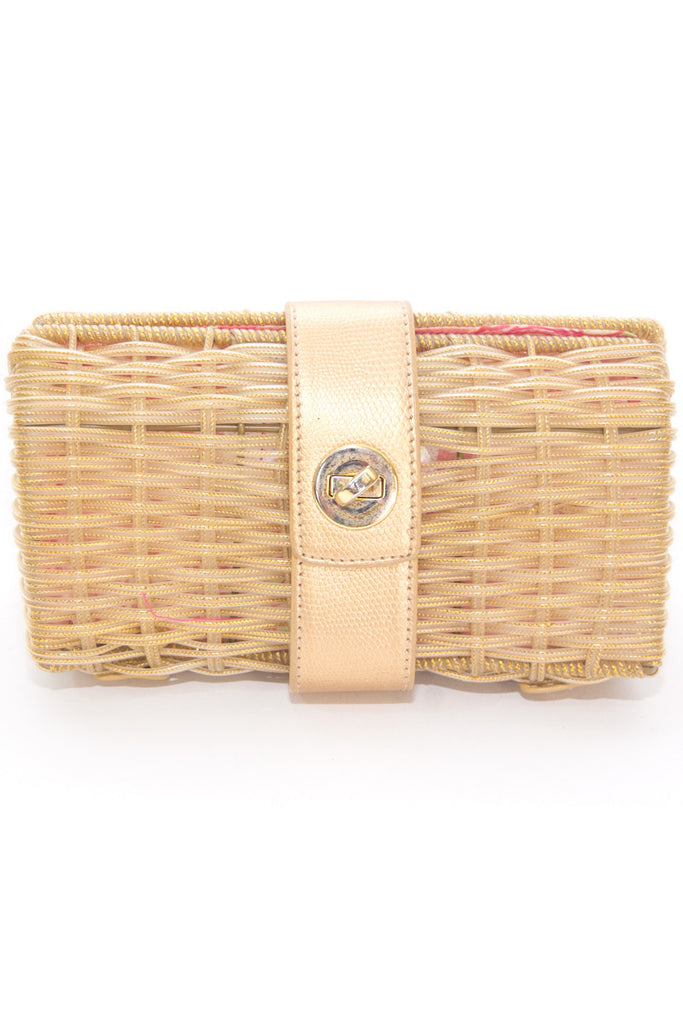 Lilly Pulitzer Gold Straw Clutch