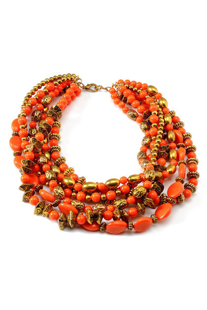 Amrita Singh Orange and Gold Multi-Chain Statement Necklace