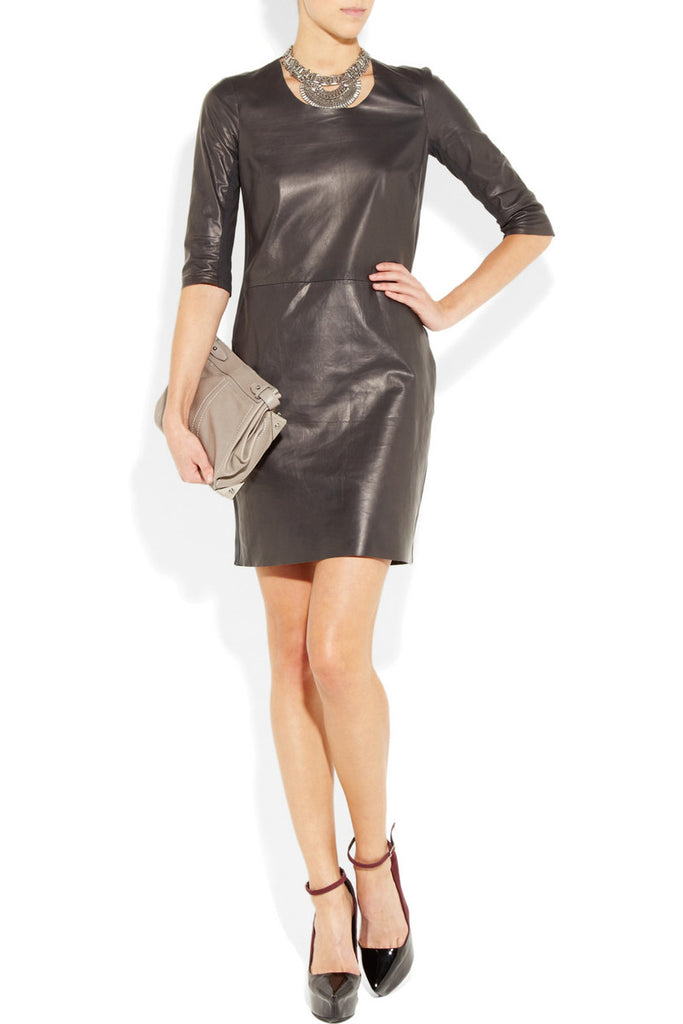 Raquel Allegra Black Leather and Stretch-jersey Shift Dress