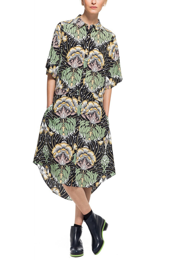 Suno Back Tie Shirt Dress