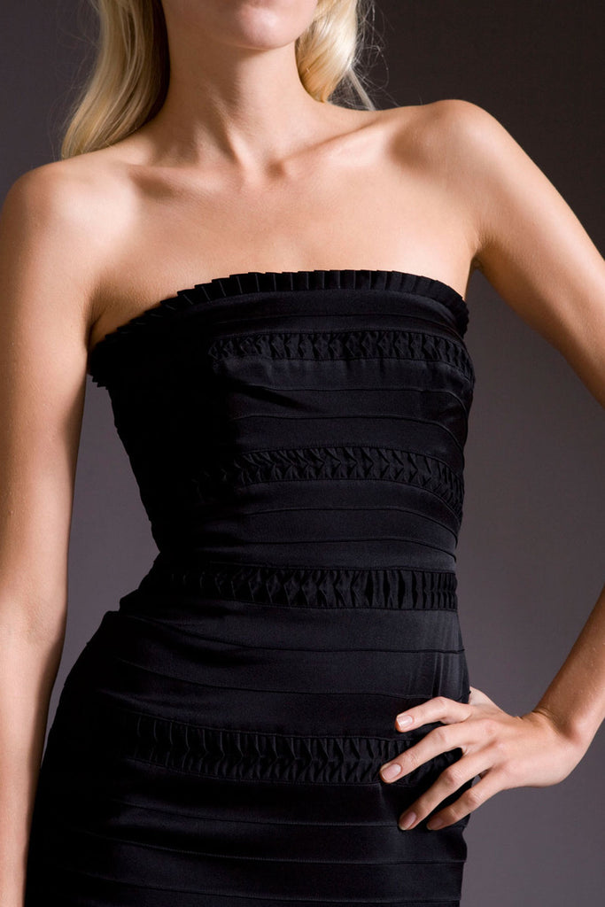 Temperley London Black Strapless Tiered OPHELIA DRESS