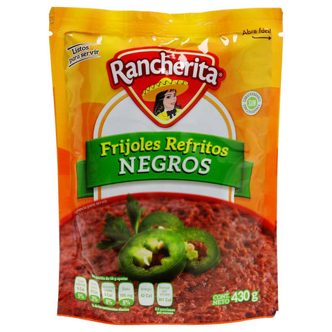 RANCHERITA BAG POUCH PACKED BEANS BLACK REFRIED 15.16OZ (430GR) / 24