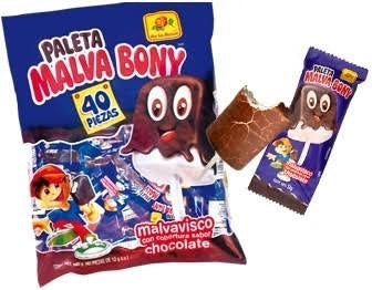 MARSHMALLOWS WITH CHOCOLATE MALVA BONY POP 40PZ/16