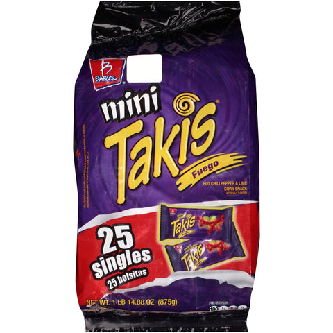 CORN CHIPS BARCEL MINI TAKIS FIRE (FUEGO) 30.86OZ (875GR) 3/25PZ