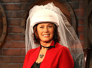 Arlene Dickinson wearing the Bridal helmet cover! In real life, she's engaged.