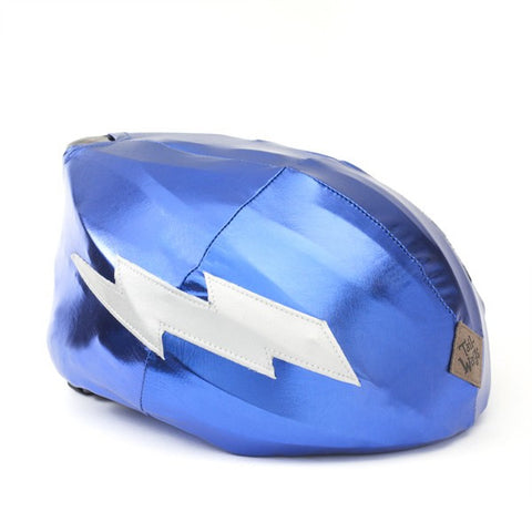 Lightning Helmet Cover (Blue) - Girls, Boys & Adult , One Size - Tail Wags Helmet Covers Inc, Tail Wags Helmet Covers  - 1