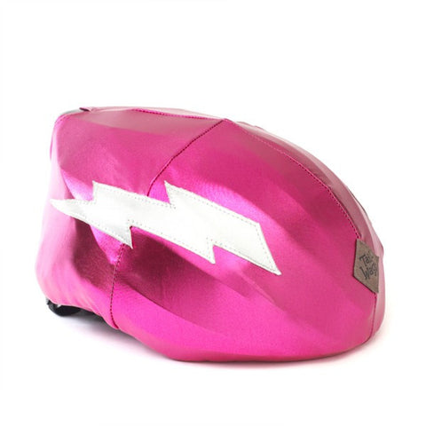 Lightning Helmet Cover (Pink) - Girls, Boys & Adult , One Size - Tail Wags Helmet Covers Inc, Tail Wags Helmet Covers  - 1