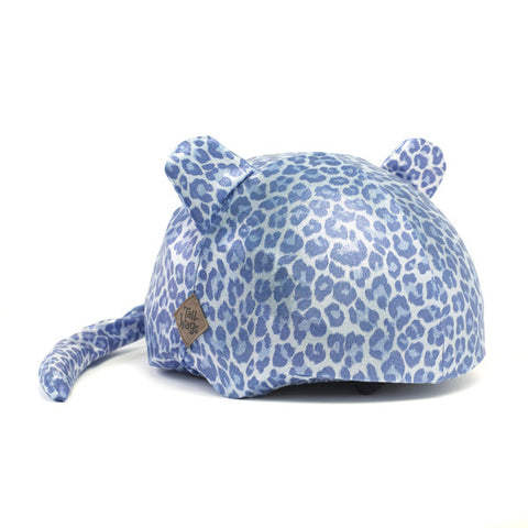 Leopard (Blue) - Girls, Boys & Adult , One Size - Tail Wags Helmet Covers Inc, Tail Wags Helmet Covers  - 1