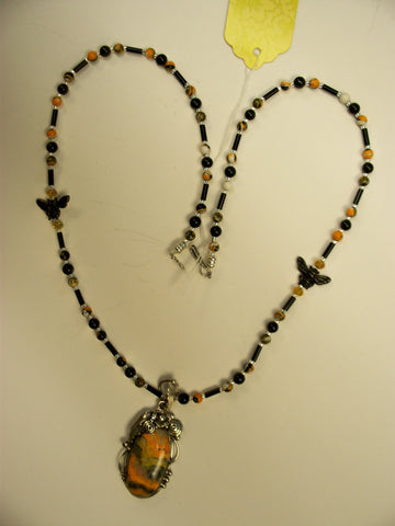 BUMBLE BEE JASPER BEADED NECKLACE
