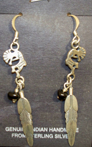 Kokopelli and Onyx Earrings