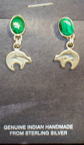 Malachite Bear Earrings
