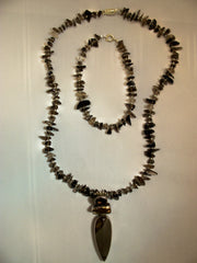 Mookaite,Pearl and Smokey Quartz Necklace and Bracelet Set