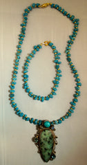 Serpentine, Topaz, Moonstone and Turquoise Necklace and Bracelet Set