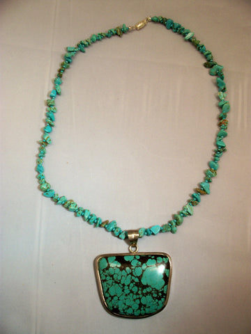 Turquoise Pendant on Turquoise Necklace