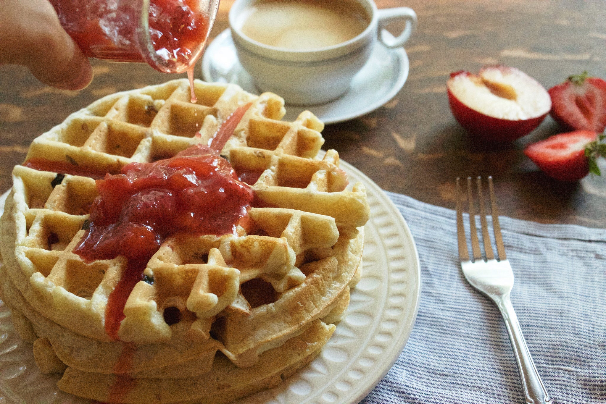 Perfect Buttermilk Muesli Waffles (with Tart Plum Sauce)