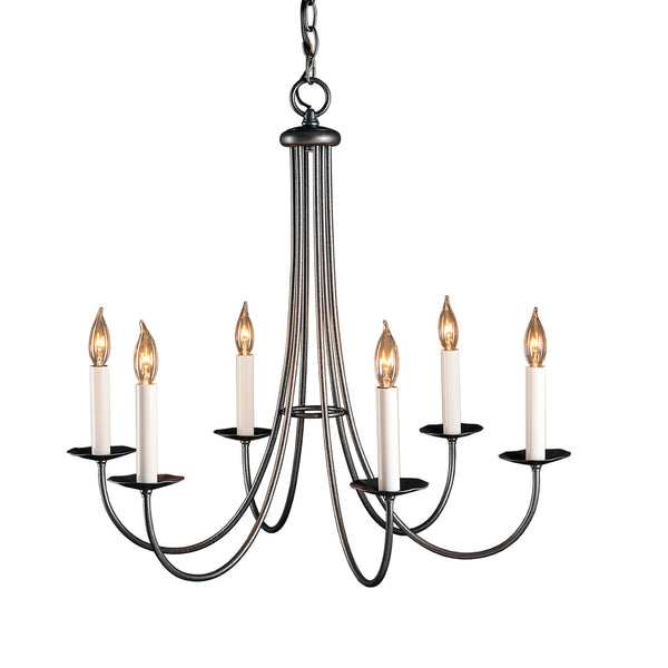 Hubbardton Forge 101160-1005 Ceiling Light Simple Sweep 6 Arm Chandelier in Natural Iron