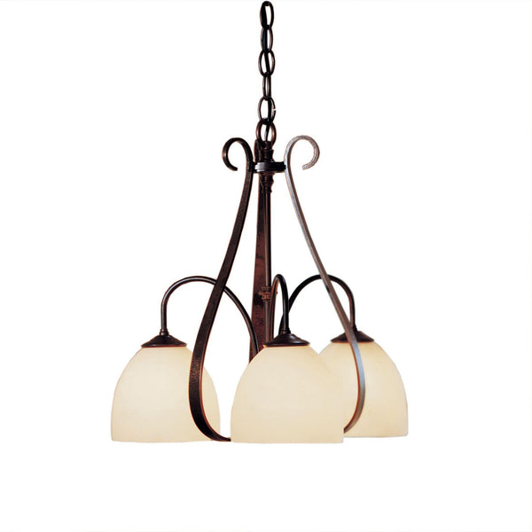 Hubbardton Forge 101441-1004 Ceiling Light Sweeping Taper 3 Arm Chandelier in Bronze