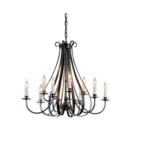 Hubbardton Forge 101469-1002 Ceiling Light Sweeping Taper 9 Arm Chandelier in Dark Smoke