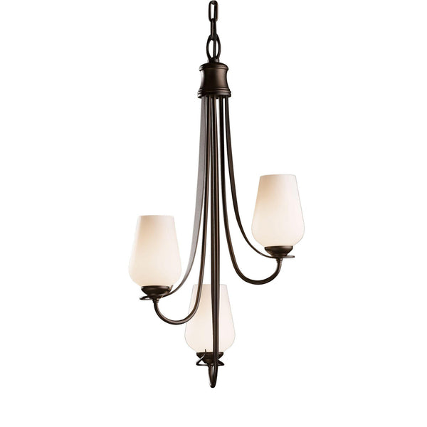 Hubbardton Forge 103033-1004 Ceiling Light Flora 3 Arm Chandelier in Bronze
