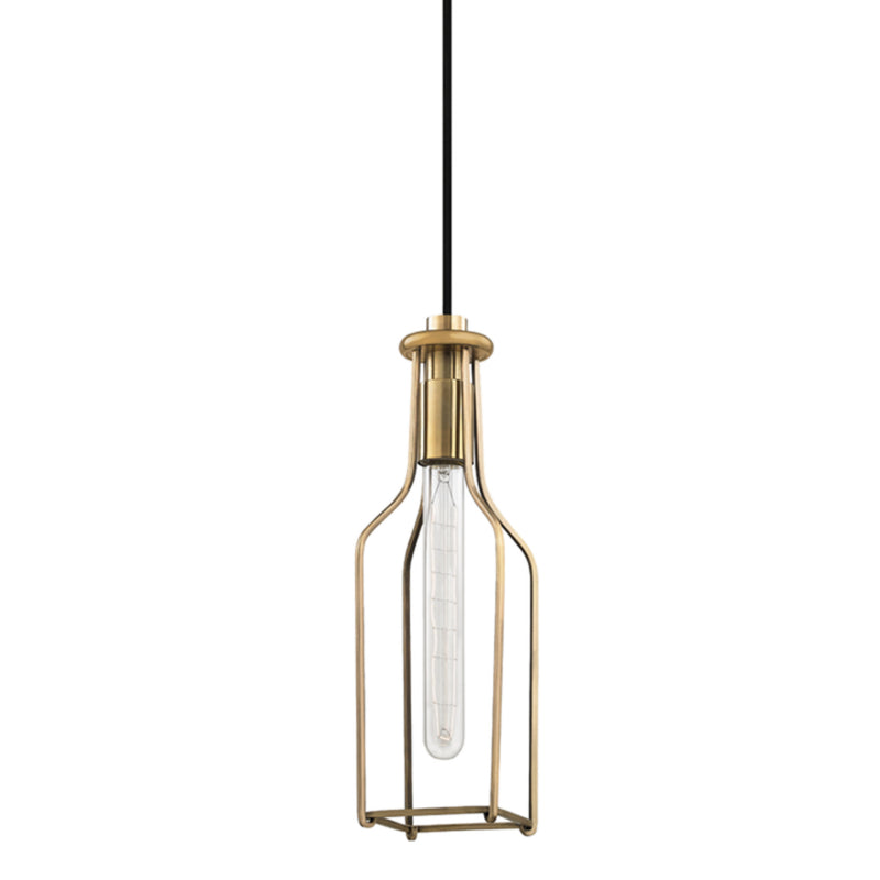 Hudson Valley Lighting 1041-AGB Colebrook 1 Light Pendant in Aged Brass