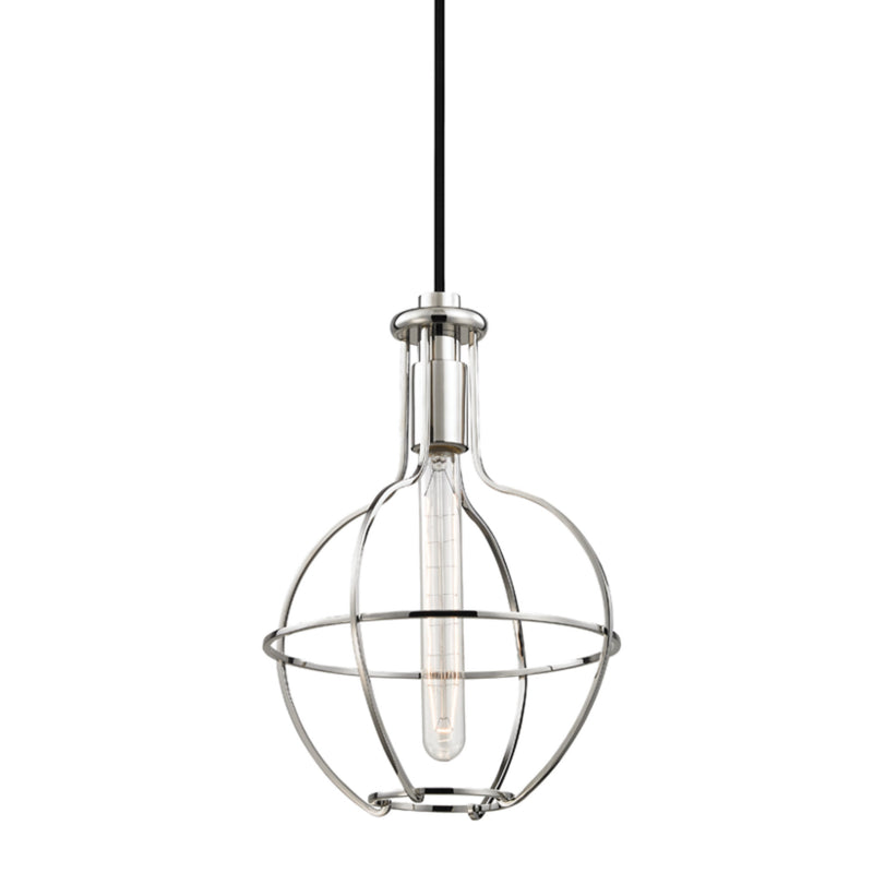 Hudson Valley Lighting 1051-PN Colebrook 1 Light Pendant in Polished Nickel