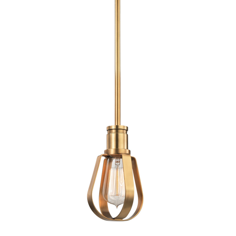Hudson Valley Lighting 1080-AGB Red Hook 1 Light Pendant in Aged Brass