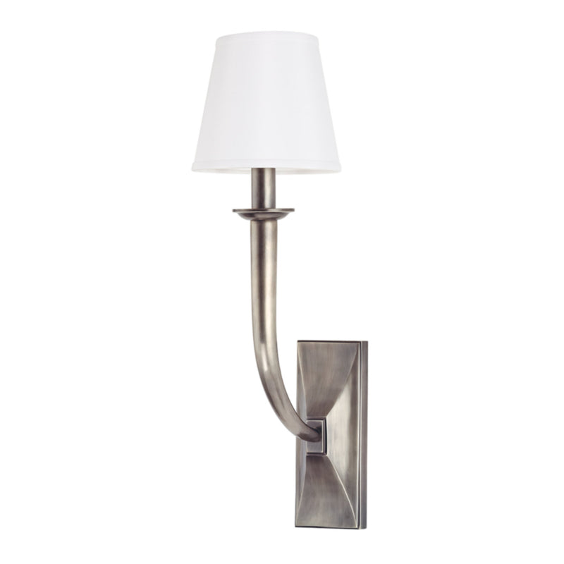 Hudson Valley Lighting 110-AS-WS Vienna 1 Light Wall Sconce W/White Shade in Aged Silver