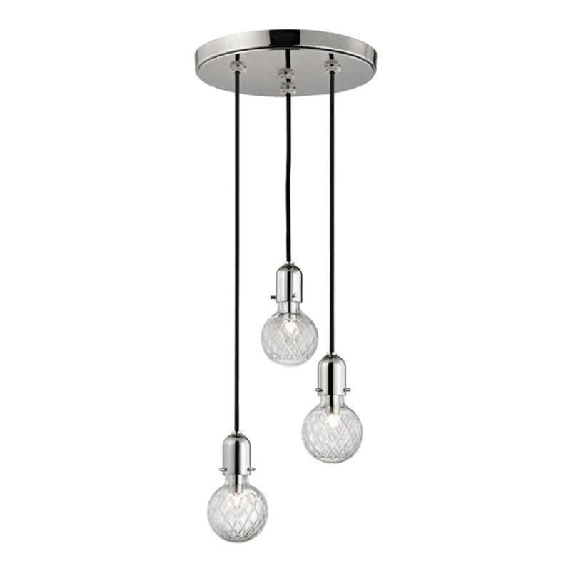 Hudson Valley Lighting 1103-PN Marlow 3 Light Pendant in Polished Nickel