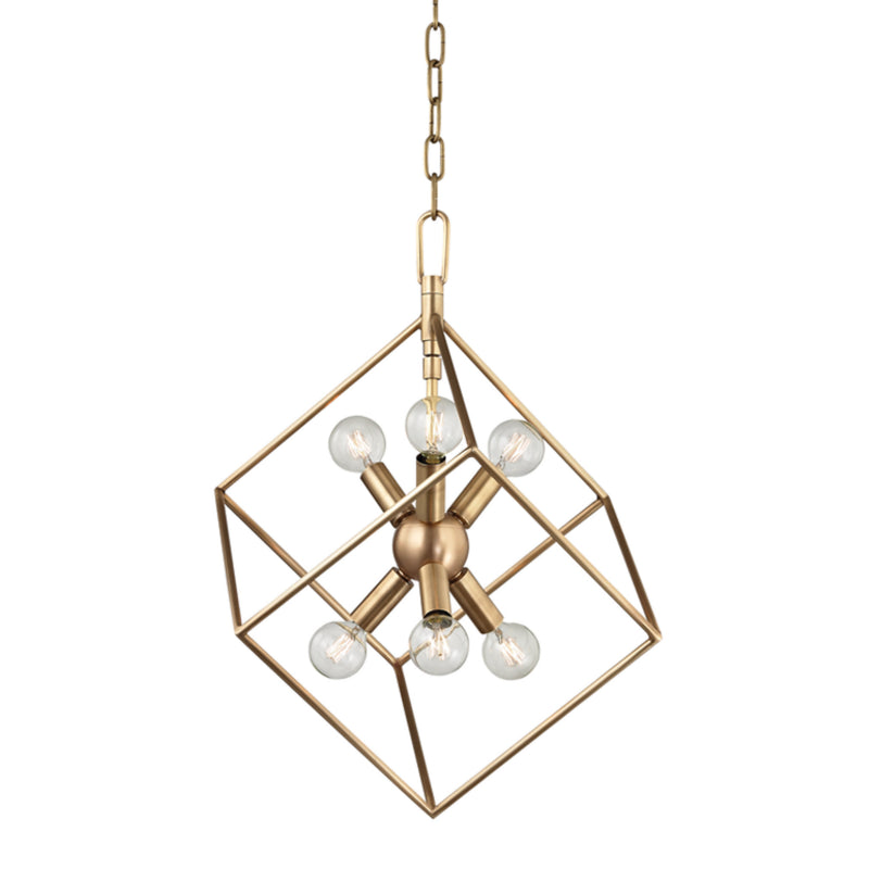 Hudson Valley Lighting 1215-AGB Roundout 6 Light Pendant in Aged Brass