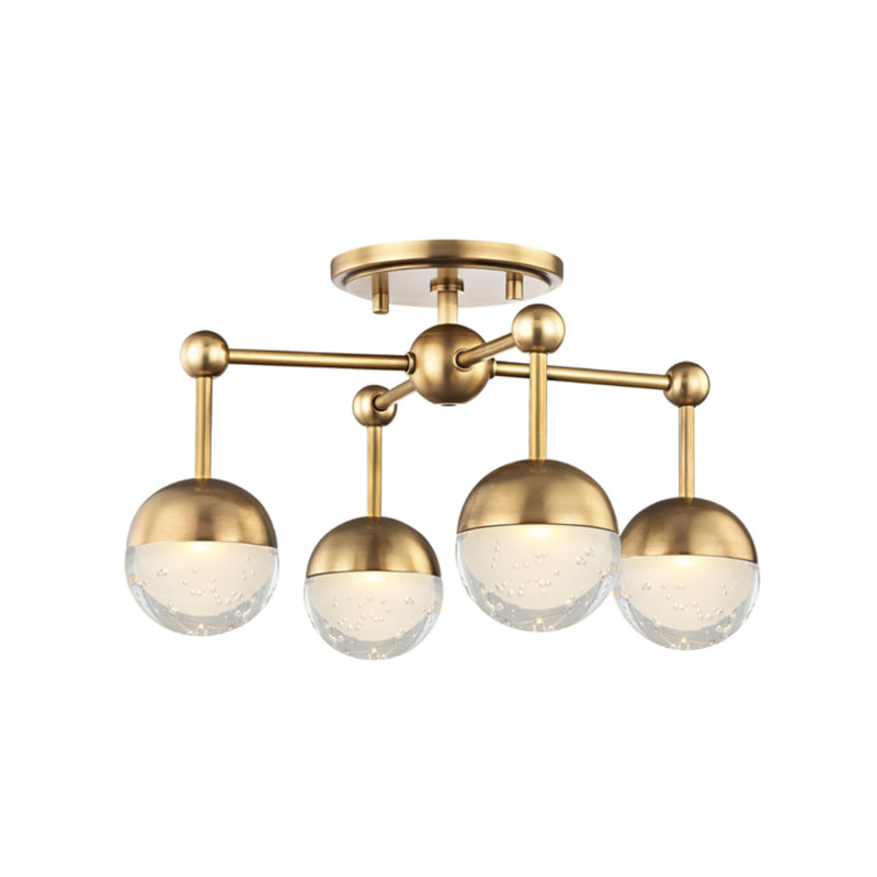 Hudson Valley Lighting 1223F-AGB Boca Led Flush Mount in Aged Brass