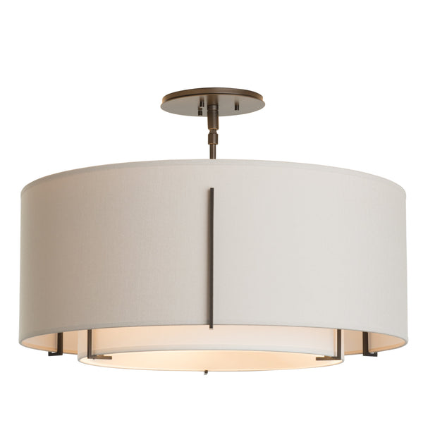 Hubbardton Forge 126503-1131 Ceiling Light Exos Double Shade Semi-Flush in Dark Smoke