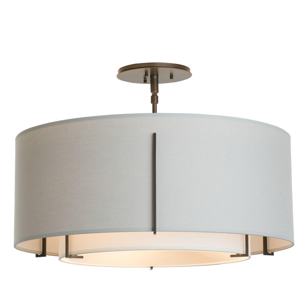 Hubbardton Forge 126503-1914 Ceiling Light Exos Double Shade Semi-Flush in Dark Smoke