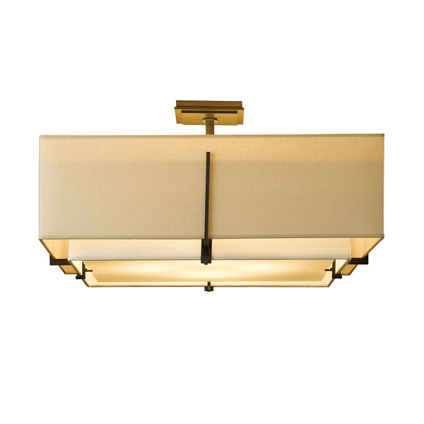 Hubbardton Forge 126513-1096 Ceiling Light Exos Square Large Double Shade Semi-Flush in Dark Smoke