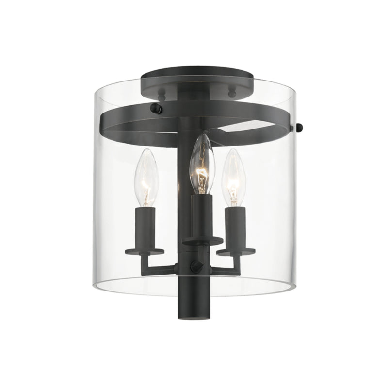 Hudson Valley Lighting 1303-OB Baxter 3 Light Flush Mount in Old Bronze