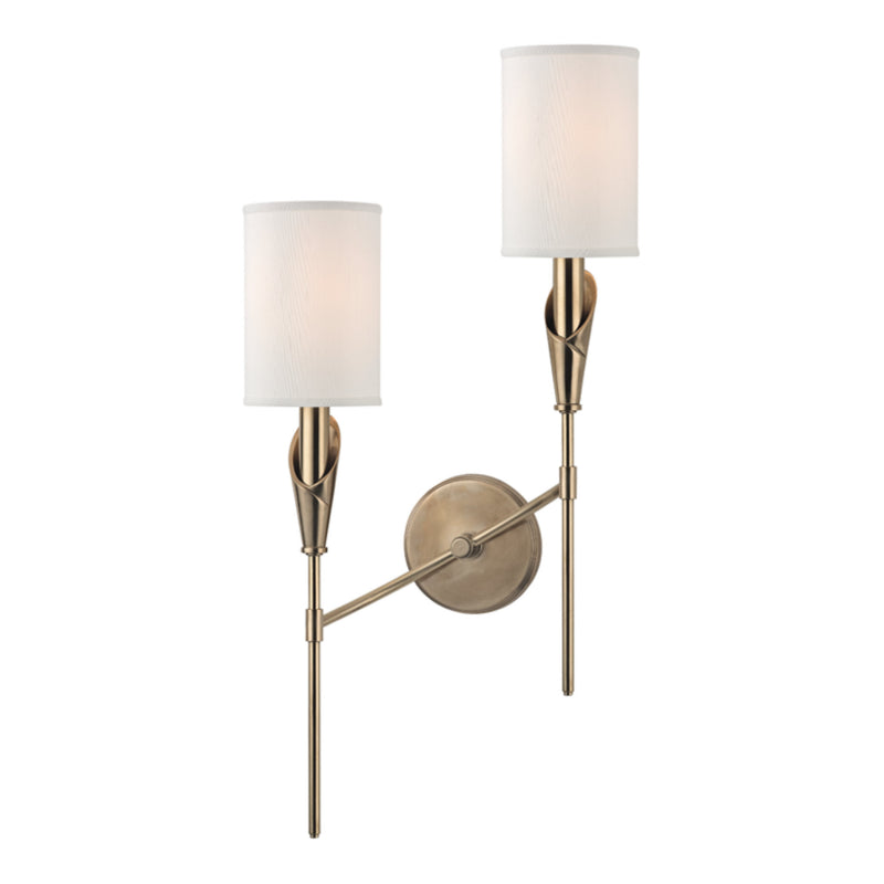 Hudson Valley Lighting 1312L-AGB Tate 2 Light Left Wall Sconce in Aged Brass