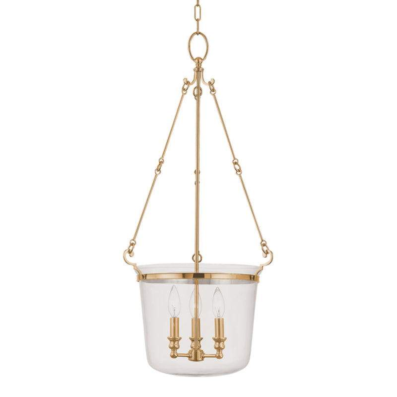 Hudson Valley Lighting 133-AGB Quinton 3 Light Pendant in Aged Brass
