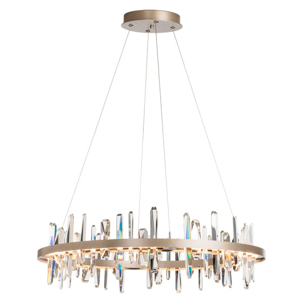 Hubbardton Forge 139915-1007 Ceiling Light Solitude Circular LED Pendant in Soft Gold