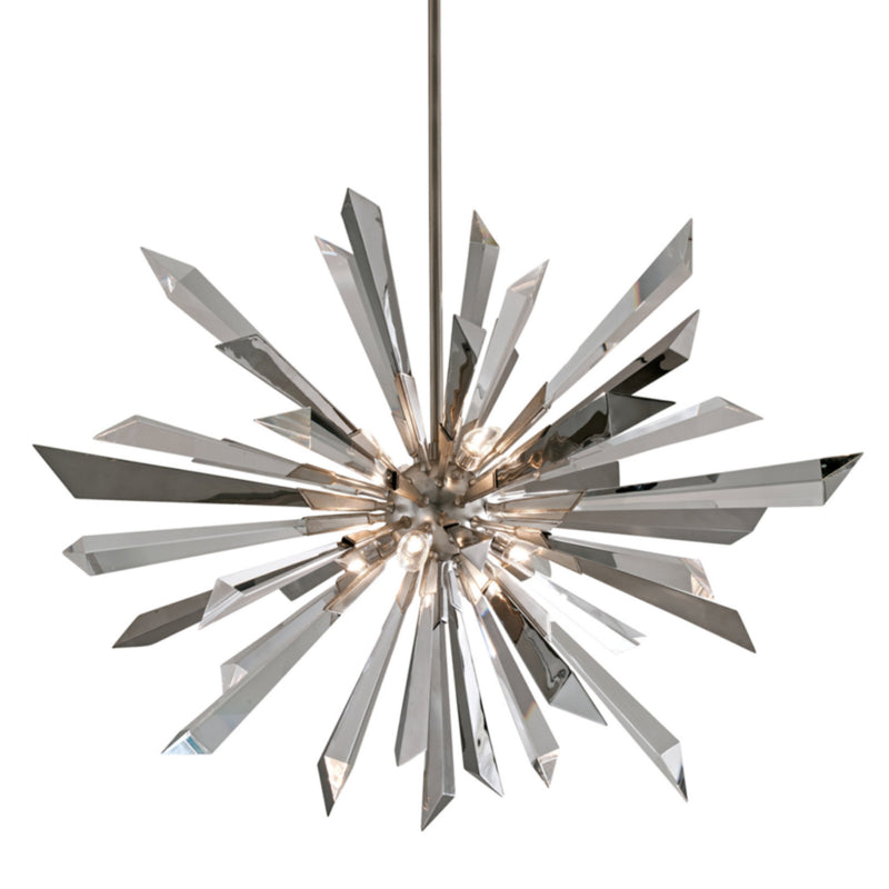 Corbett Lighting 140-48 Inertia 8lt Pendant in Hand-Worked Iron