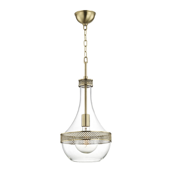 Hudson Valley Lighting 1810-AGB Hagen 1 Light Small Pendant in Aged Brass