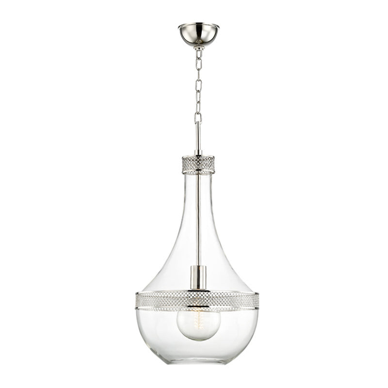 Hudson Valley Lighting 1814-PN Hagen 1 Light Large Pendant in Polished Nickel