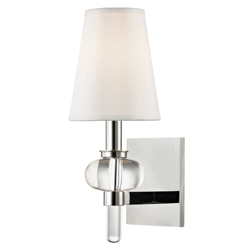 Hudson Valley Lighting 1900-PN Luna 1 Light Wall Sconce in Polished Nickel
