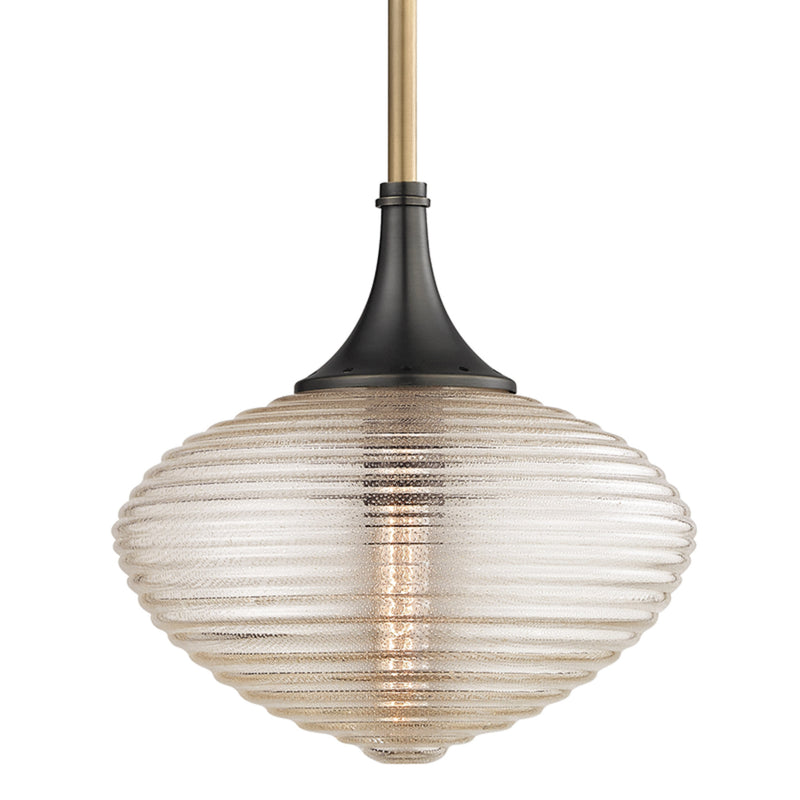 Hudson Valley Lighting 1926-AOB Knox 1 Light Pendant W/ Brass Mesh in Aged Old Bronze