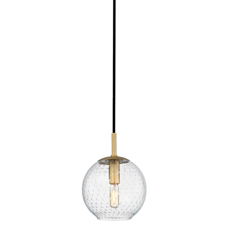 Hudson Valley Lighting 2007-AGB-CL Rousseau 1 Light Pendant-Clear Glass in Aged Brass