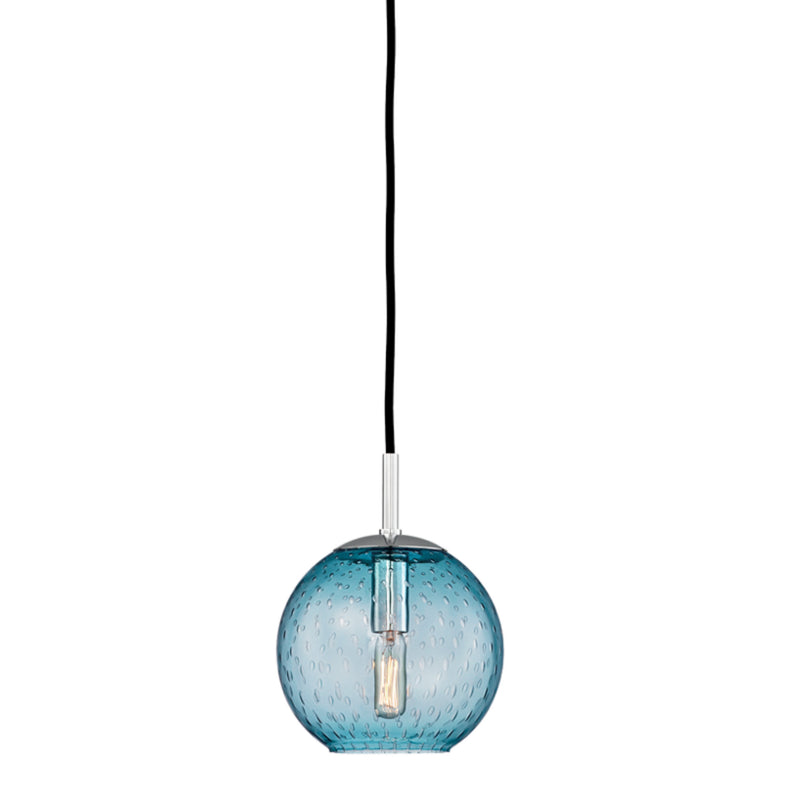 Hudson Valley Lighting 2007-PC-BL Rousseau 1 Light Pendant-Blue Glass in Polished Chrome