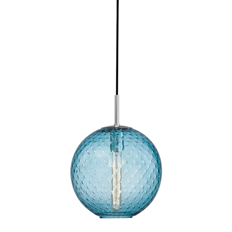 Hudson Valley Lighting 2010-PC-BL Rousseau 1 Light Pendant-Blue Glass in Polished Chrome
